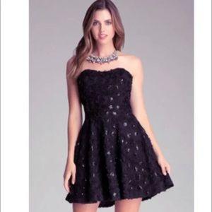 BEBE Black Rosette Strapless Sequin Dress Size 4